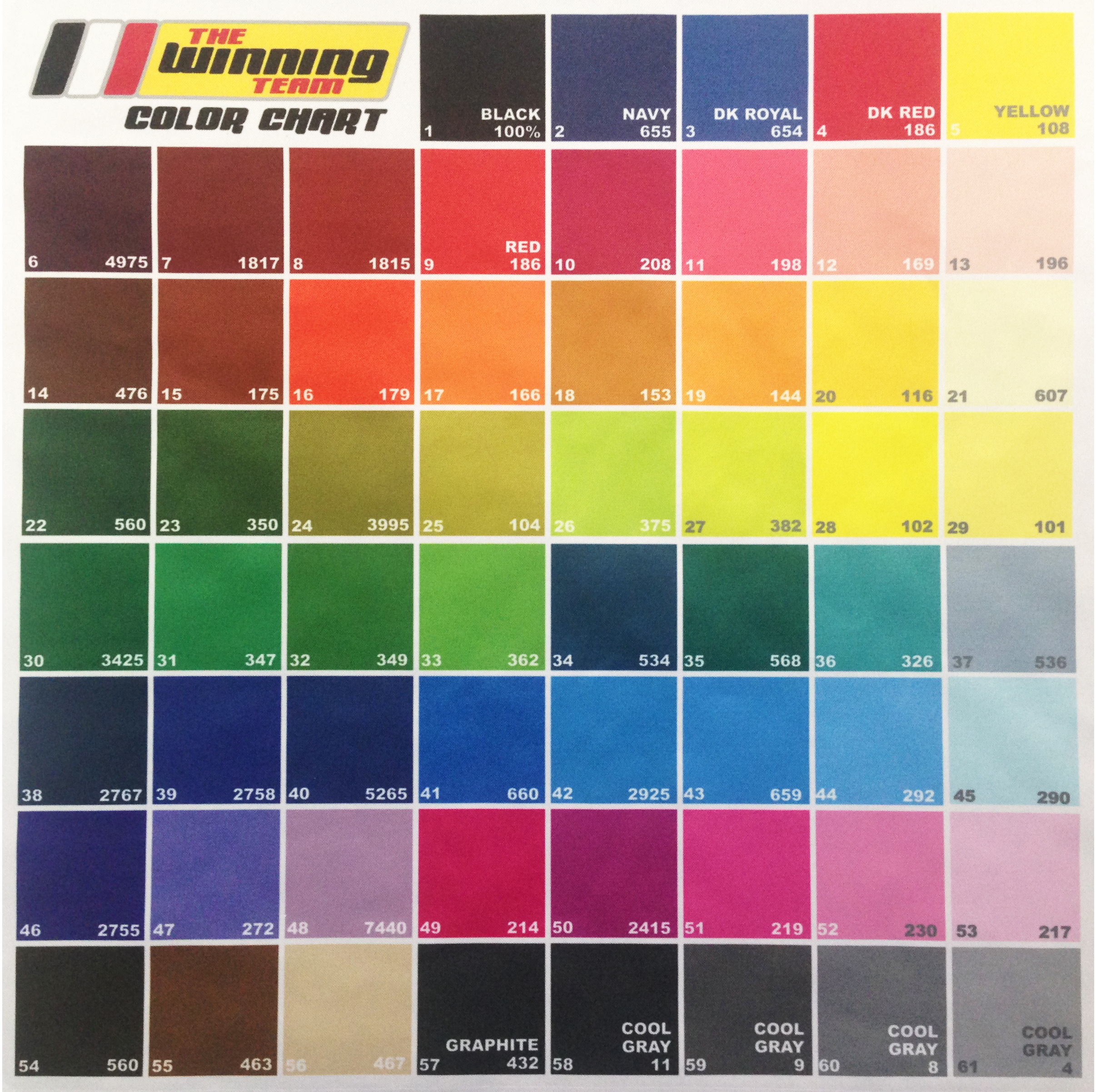 Color chart the winning team inc this is our chart of commonly used colors if you would like us to mail you an actual fabric color chart please contact your sales rep and we will be happy nvjuhfo Gallery